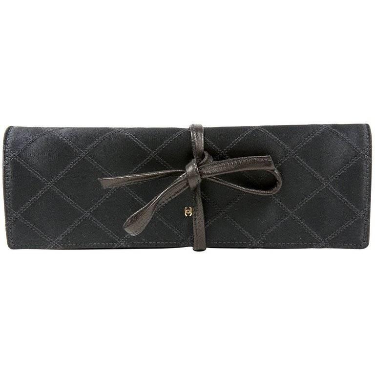 Chanel Black Denim Jewelry Roll Case