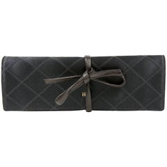 Chanel Black Denim Jewelry Roll Case