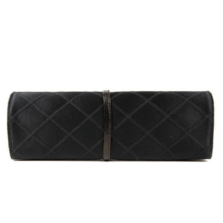 Chanel Black Denim Jewelry Roll Case In Excellent Condition For Sale In Palm Beach, FL