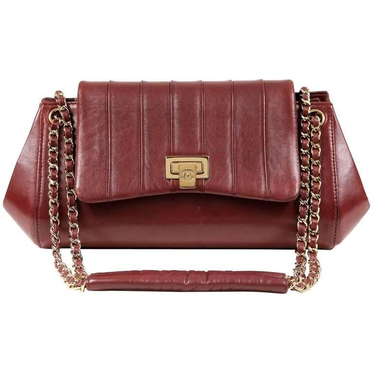 c945389a78a0 Chanel Burgundy Leather Accordion Flap Bag For Sale at 1stdibs
