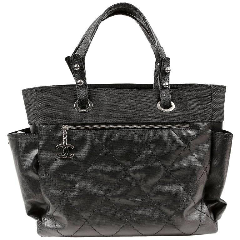 Chanel Black Canvas Biarritz XL Tote Bag For Sale