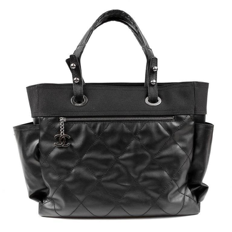 Chanel Black Canvas Biarritz XL Tote Bag In Excellent Condition For Sale In Palm Beach, FL