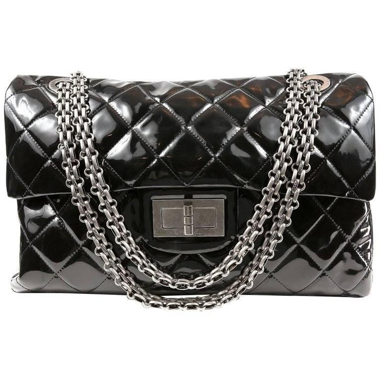 b77d95ff03c642 Chanel Black Patent Leather XXL Reissue Bag For Sale at 1stdibs
