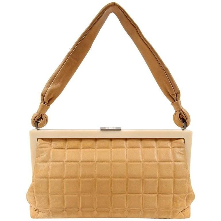 Chanel Beige Leather Square Quilted Frame Bag For Sale