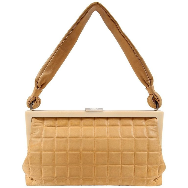 Chanel Beige Leather Square Quilted Frame Bag