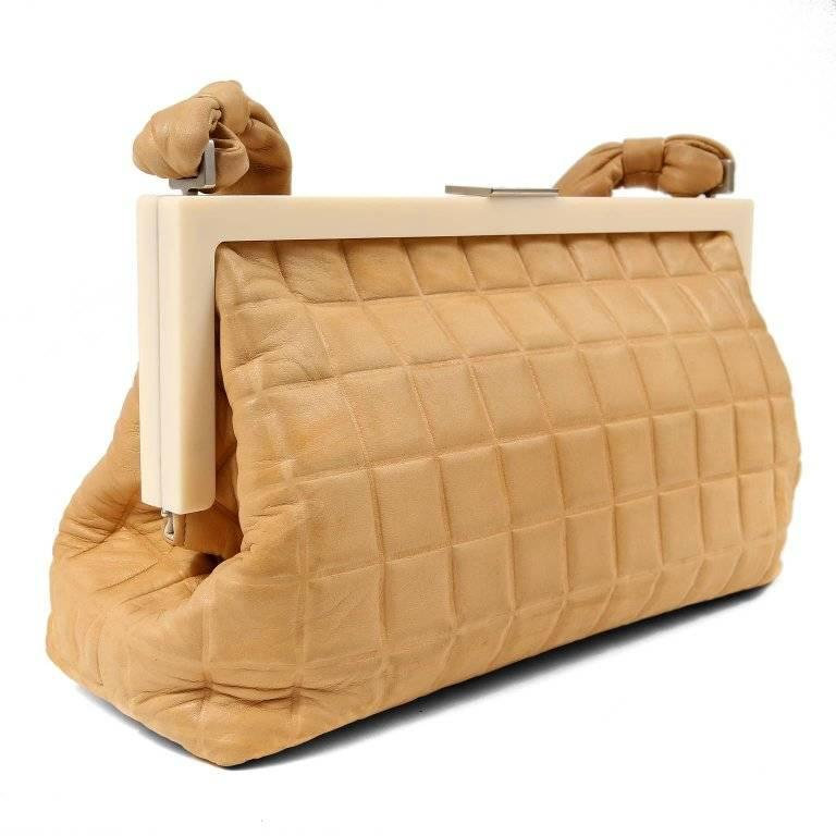 Chanel Beige Leather Square Quilted Frame Bag In Excellent Condition For Sale In Palm Beach, FL