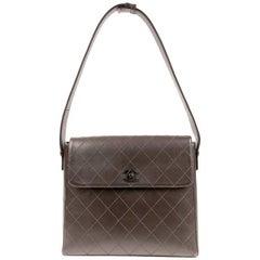Chanel Brown Leather Flat Stitched Shoulder Bag