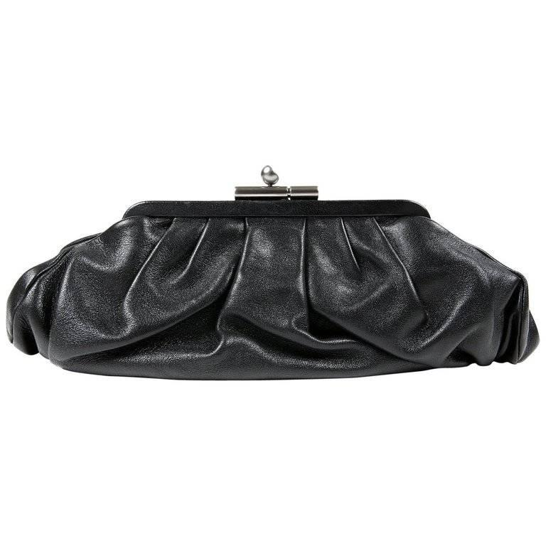 Chanel Black Gathered Lambskin Clutch