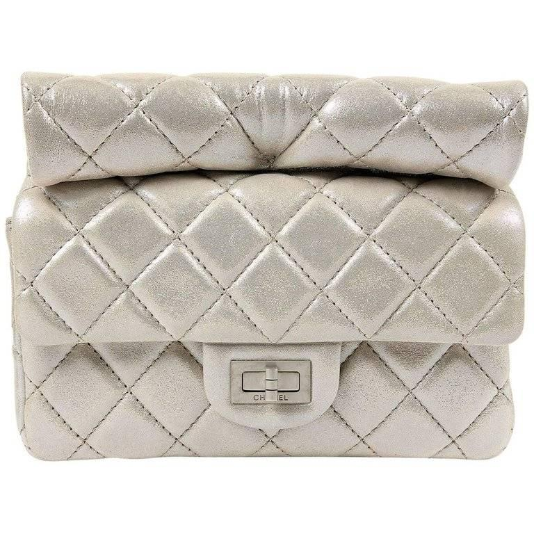 28a608546696d0 Chanel Silver Leather Roll Handle Clutch For Sale at 1stdibs