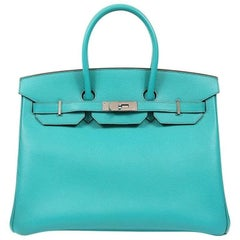 Hermes Blue Paon Epsom 35 cm Birkin Bag with PHW