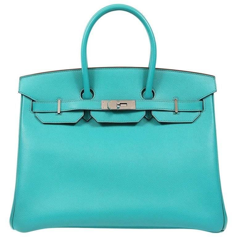 Hermes Blue Paon Epsom 35 cm Birkin Bag with PHW