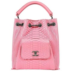 Chanel Pink Python Backpack