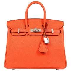 Hermes Feu Togo 25 cm Birkin Bag
