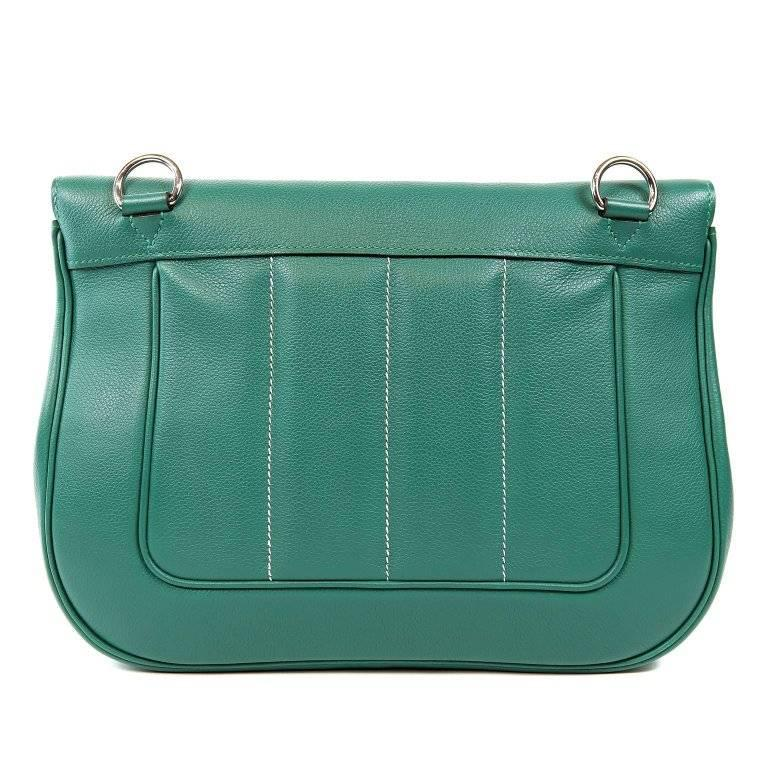 Hermes Malachite Swift Leather Berline Bag- Pristine condition, never carried.  The Berline is adored for its shoulder carried sporty silhouette. Considered the ultimate luxury item worldwide, Hermes bags are handcrafted by skilled artisans and can