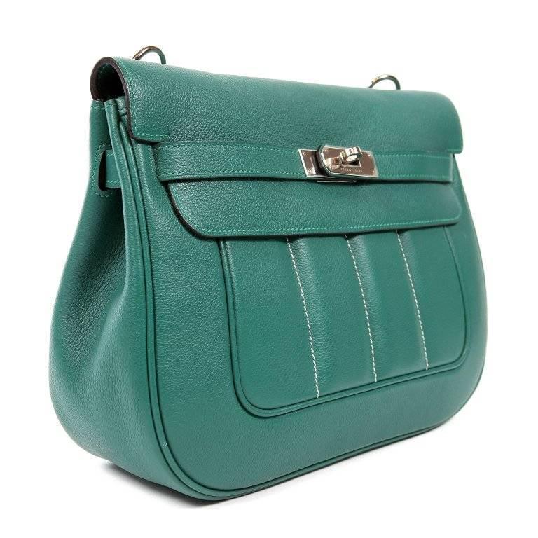 Blue Hermes Malachite Swift Berline Bag 28 cm For Sale