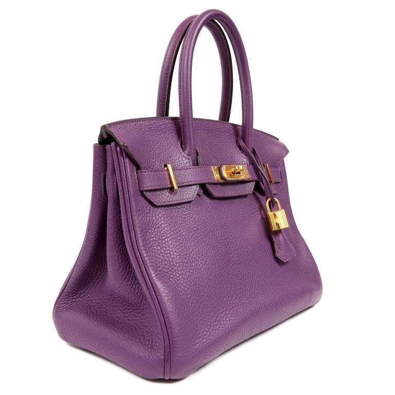 Gray Hermes Ultra Violet Togo 30 cm Birkin Bag with GHW For Sale