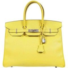 Hermes Soufre Yellow Epsom 35 cm Birkin- PHW