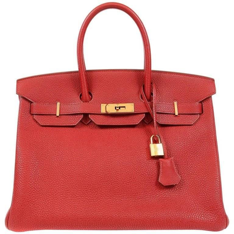 Hermes Rouge H Togo Horseshoe 35 cm Birkin Bag- GHW