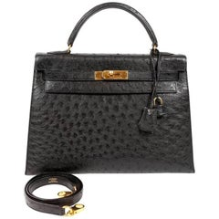 Hermes Black Ostrich 32 cm Kelly with Gold Hardware