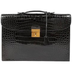 Hermes Black Porosus Crocodile Briefcase