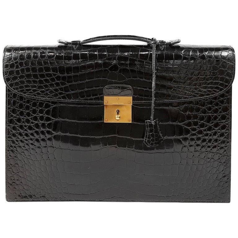 Hermes Black Porosus Crocodile Briefcase