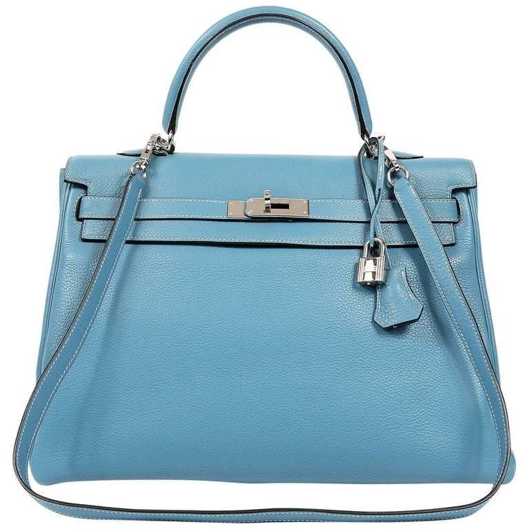 Hermes Blue Jean Clemence Kelly Retourne 35 cm- PHW