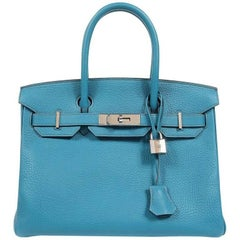 Hermes Turquoise Togo 30 cm Birkin with PHW