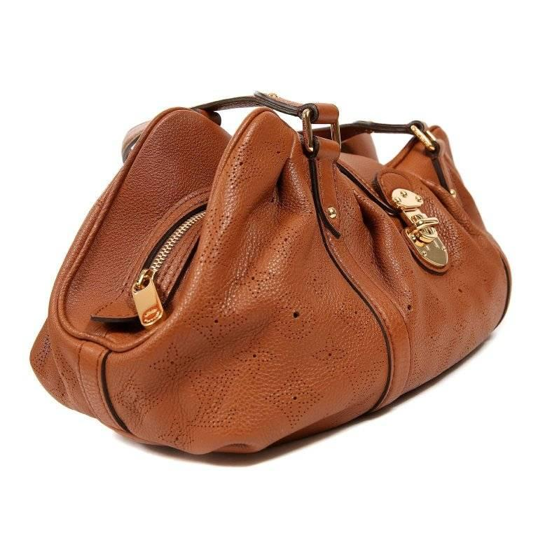 Brown Louis Vuitton Cognac Mahina Lunar PM Bag
