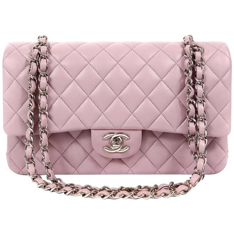 Chanel Lilac Lambskin Medium Double Flap Classic