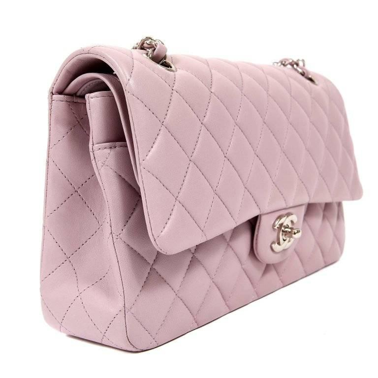 2814ea9888fe Chanel Lilac Lambskin Medium Double Flap Classic In Excellent Condition For  Sale In Palm Beach,