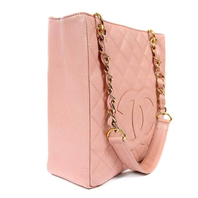 092b3ccd5ebd Orange Chanel Pink Caviar PST- Petite Shopping Tote For Sale