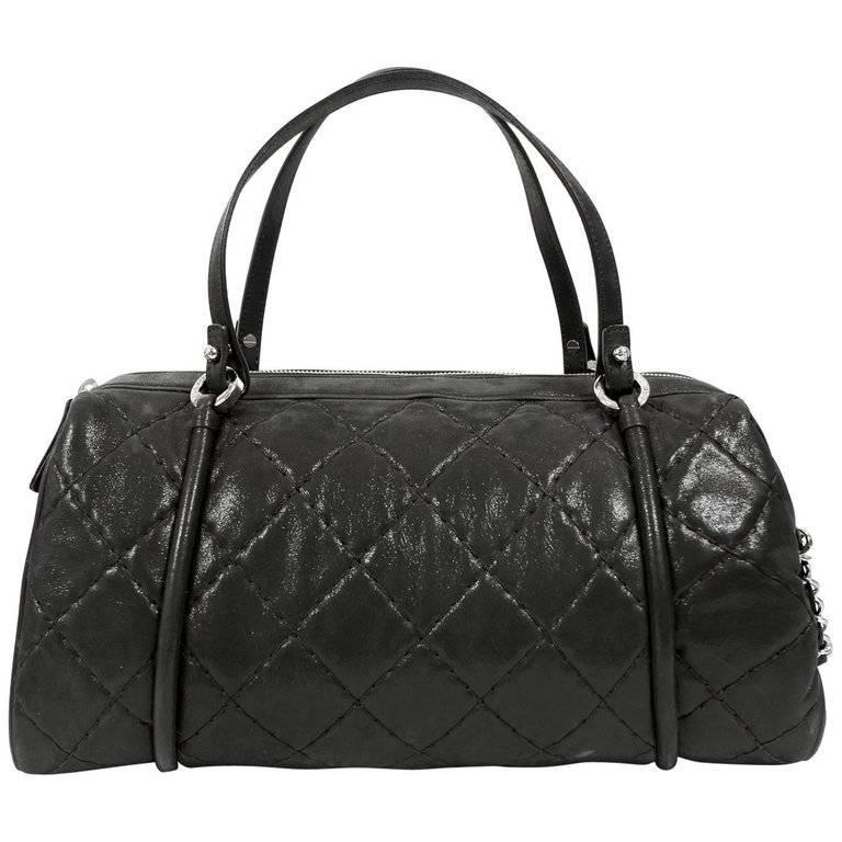 Chanel Black Glazed Lambskin Bowler
