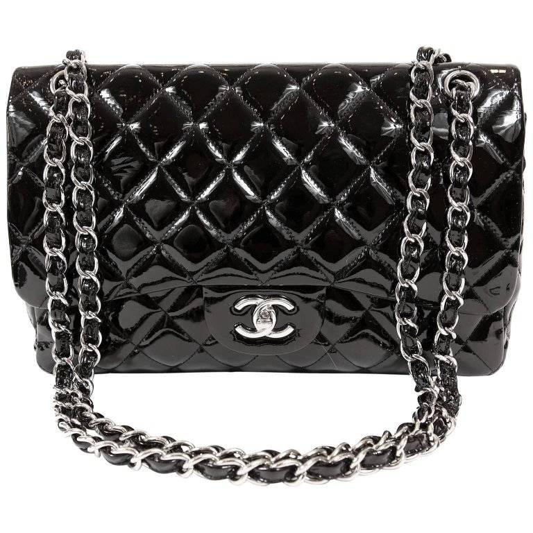 1ce58106c0328d Chanel Black Patent Leather Jumbo Classic Double Flap Bag at 1stdibs