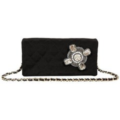 Chanel Black Fabric Crystal Embellished Evening Bag