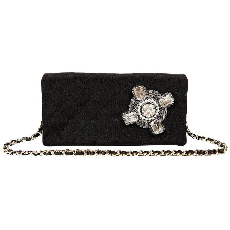 Chanel Black Fabric Crystal Embellished Evening Bag