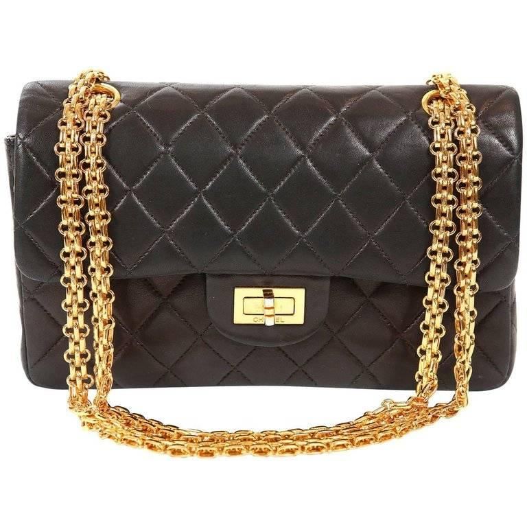 Chanel Black Lambskin 2.55 Reissue Medium Flap Bag with Gold Hardware