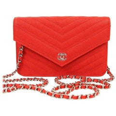 Chanel Red Caviar WOC Wallet on a Chain