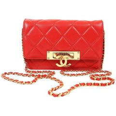 Chanel Red Lambskin WOC Wallet on a Chain with Gold CC Clasp