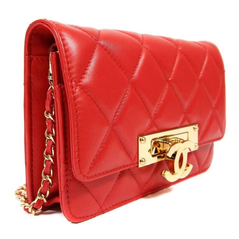 1fe1e0e814fcd5 Chanel Red Lambskin WOC Wallet on a Chain with Gold CC Clasp In Excellent  Condition For
