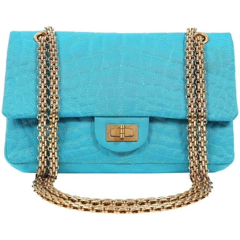 Chanel Turquoise Satin 2.55 Reissue Bag with Gold HW