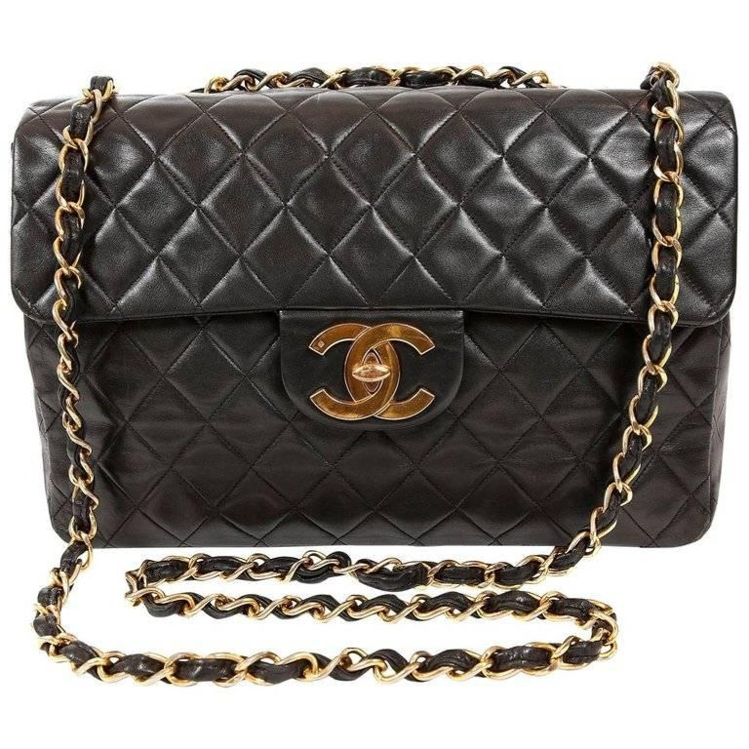 7917d9b4aa2048 Chanel Vintage Black Lambskin Maxi Classic Flap with Gold Hardware at  1stdibs