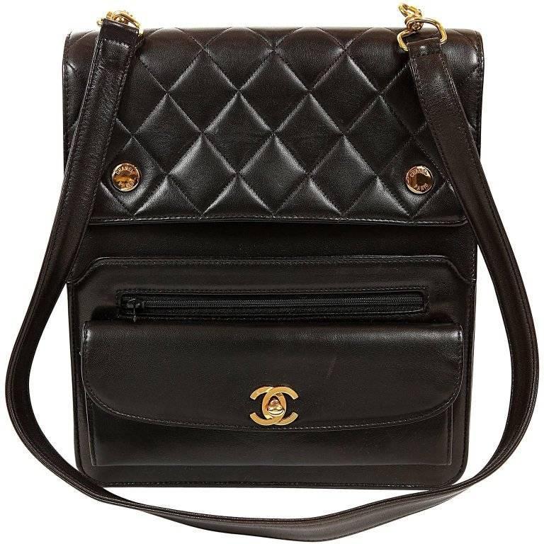 Chanel Vintage Black Leather Unisex Day Bag