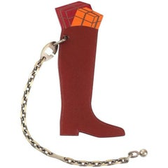 Hermes Hotte Botte Burgundy Leather Keychain