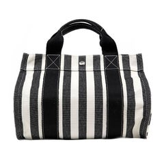 Hermes Black and White Striped Canvas Tote with pochette