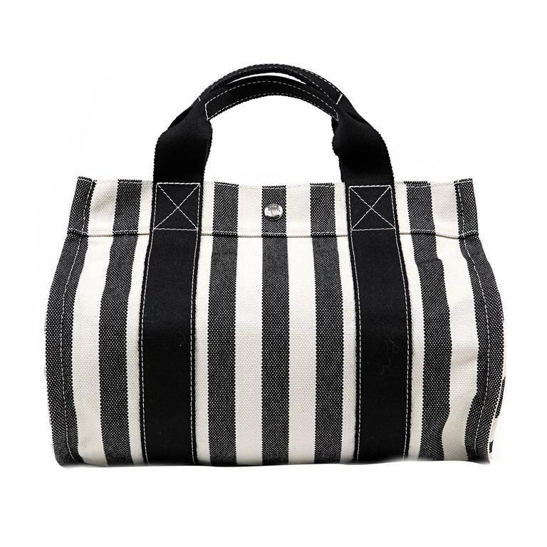 Hermes Black and White Striped Canvas Tote with pochette For Sale