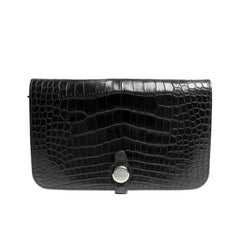 Hermes Black Alligator Dogon Wallet