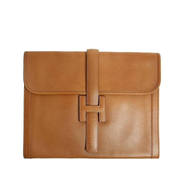 Hermes Vintage Gold Leather Jumbo Jige Clutch