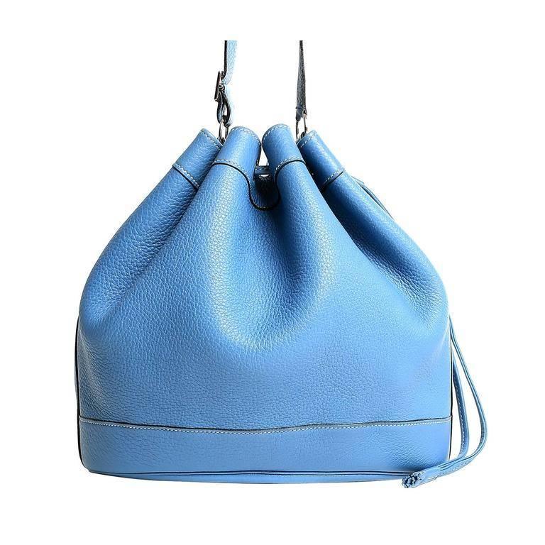 Hermes Blue Jean Clemence Leather Market Bucket Bag