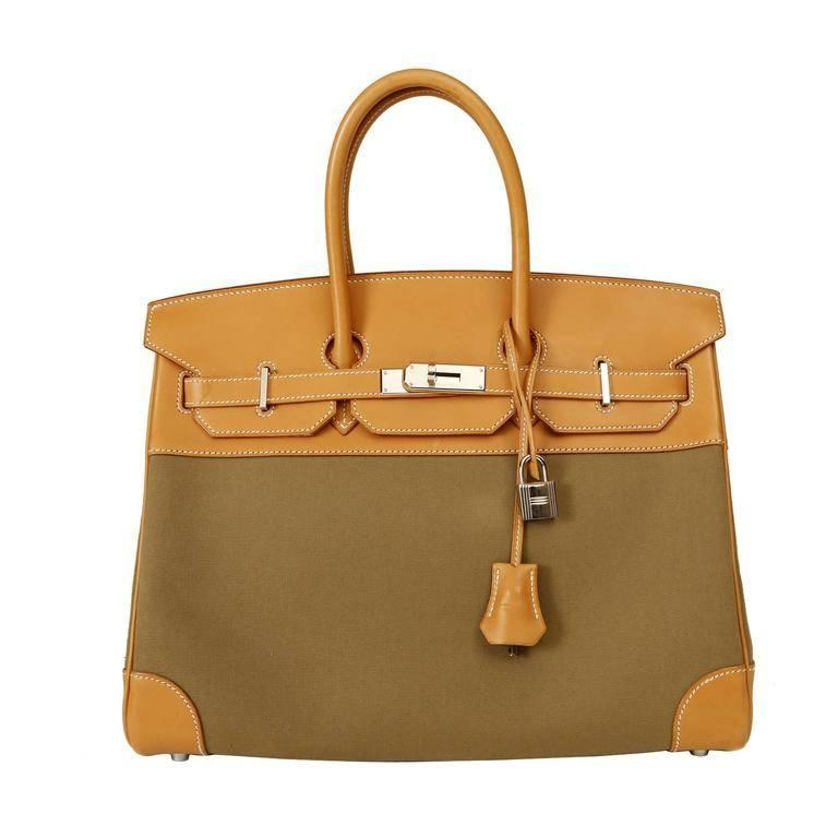 Hermes Barenia and Olive Canvas 35 cm Birkin Bag-PHW
