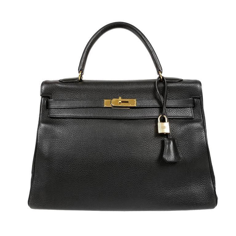Hermes Black Togo Kelly Bag- 35 cm with Gold